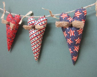 Americana Primitive Heart Garland - 3 Grungy Patriotic Fabric Stuffed Hearts - Primitive July 4th Decor - Country Garland - Red White Blue