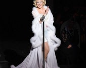Custom deluxe chiffon/marabou robe in all white due before 12/31 (down payment)