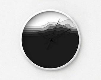 Layered Black White Vector Art Wall Clock