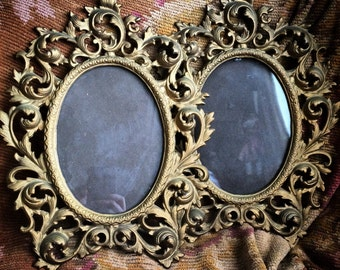 This Pair Of Antique Wilton Heavy Cast Metal Picture Frames Will Have You Swooning