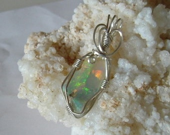 Bright, Large, Rough, Spectacular Red, Blue, Yellow and Green Ethiopian Fire Opal Wire Wrapped Pendant in Argentium Sterling Silver Wire 559