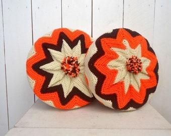 "Vintage Crochet Pillows - 1960s Retro Chevron Striped Pillows - 13"" Round Pom Pom Couch Pillows - Set of 2"