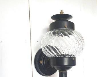 15% OFF Vintage Porch Light 1950s Black Metal Globe Glass Indoor Outdoor Front Door Vintage Sconce Lamp