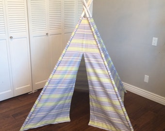 CLEARANCE Purple, Green, Violet, Lilac, Striped, Play Teepee, Tee Pee, Tent (poles included) Ready to Ship