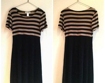 1990s black slinky striped short sleeve dress M