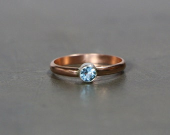 Customized Classic Rose Gold And Silver Ring With Selected Faceted Stone