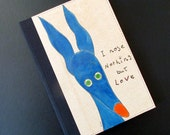 Greyhound galgo notebook hand painted cover silly old greyhound blue hound OOAK