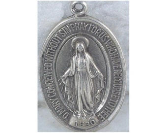 """Vintage Catholic Mary Sterling Silver Miraculous Religious Medal on 18"""" sterling silver rolo chain"""