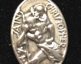 Saint Christopher & Our Lady of the Highway Vintage Sterling Religious Medal Pendant on 18 inch sterling silver rolo chain