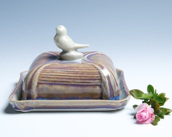 Bird Porcelain Ceramic Butter Dish / Celadon and Golden Lavender