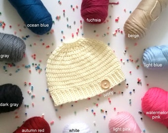Ponytail Hat Beanie Bun Hat Messy Bun Hat Messy Bun Beanie Top Knot Hat Winter Hat Mothers Day Gift Girls Hair Accessories