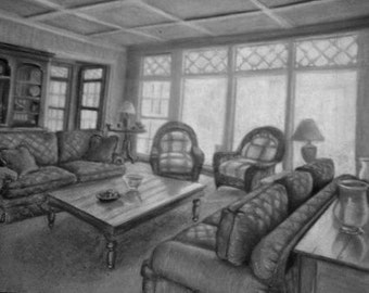 Original Pastel Drawing- Room Study