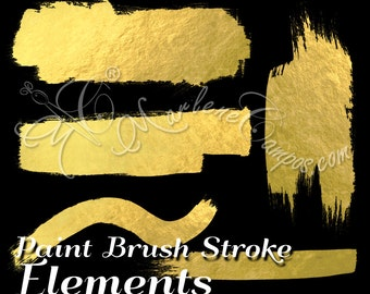Gold Paint Strokes, paint brush stroke Elements, Metallic paint, overlays clip art - Scrapbooking Embellishments - INSTANT DOWNLOAD