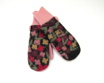 Wool Mittens Fleece Lined Felted Flowers on Charcoal Gray Wool Sweater Mittens