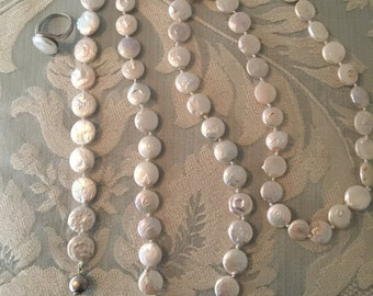 Detash -  Three Piece Fresh Water PEARL ASSORTMENT - Long Necklace - Bracelet and Ring - DIY  Beads