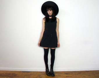 Black MINI Dress 90s MOD GRUNGE Shift Dress Sleeveless Womens Vintage Size M