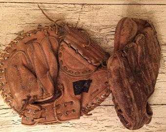 Pair of Vintage Leather Baseball Gloves - Rustic Decor - Game Room, Man Cave Decor