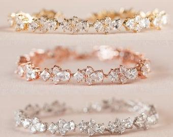 Rose Gold Bridal Bracelet, Gold Wedding Bracelet, Bridal Earrings, Bridesmaids jewelry, Bridal Jewelry SET,  Kendall Bracelet