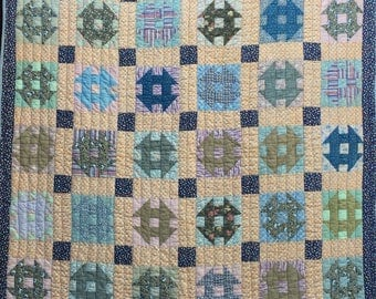 Antique Vintage Churn Dash Pretty Calicos Fabrics Hand-Quilted