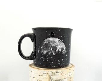 Coffee Mug - Moon & Cabin - Speckled Color Mug - Campfire Collection - Screen Printed Mug