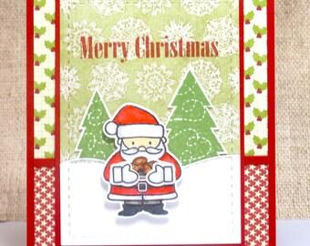 Christmas Cards- Santa Claus Card- Merry Christmas- Handmade Cards- Clearance