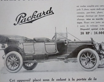 Art Deco Vintage French Ad Packard Automobile 1913