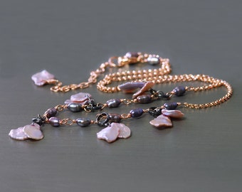 Lavender Keishi Pearl Necklace by Agusha. Pearl Oxidized Silver and Rose Gold Filled Neckace
