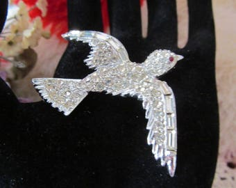 Vintage Signed Pell Rhinestone Bird Brooch, Bird in Flight Pin, Clear Rhinestones, Silver Tone
