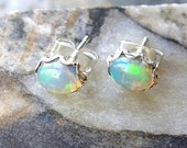 Custom Opal Earrings, 5mm Scalloped Sterling Silver Setting