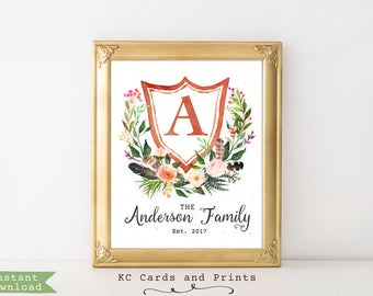 Family Name Signs Established Date, Boho Chic Wall Art, Personalized, Wedding Gift, Anniversary Gift, Digital Print, Instant Download