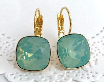 Mint Opal Earrings // 12mm PACIFIC OPAL Swarovski Crystal Cushion Earrings // Nickel Free Hypoallergenic Earrings // Rose Gold, Gold, Silver