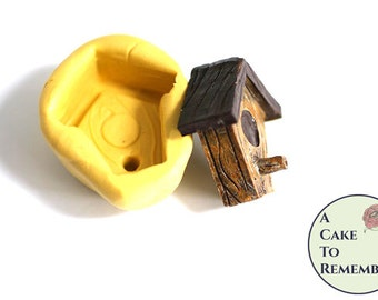 Little birdhouse mold, birdhouse mold for cupcake toppers or dollhouses. Gumpaste or fondant mold, polymer clay or resin mold. M5135