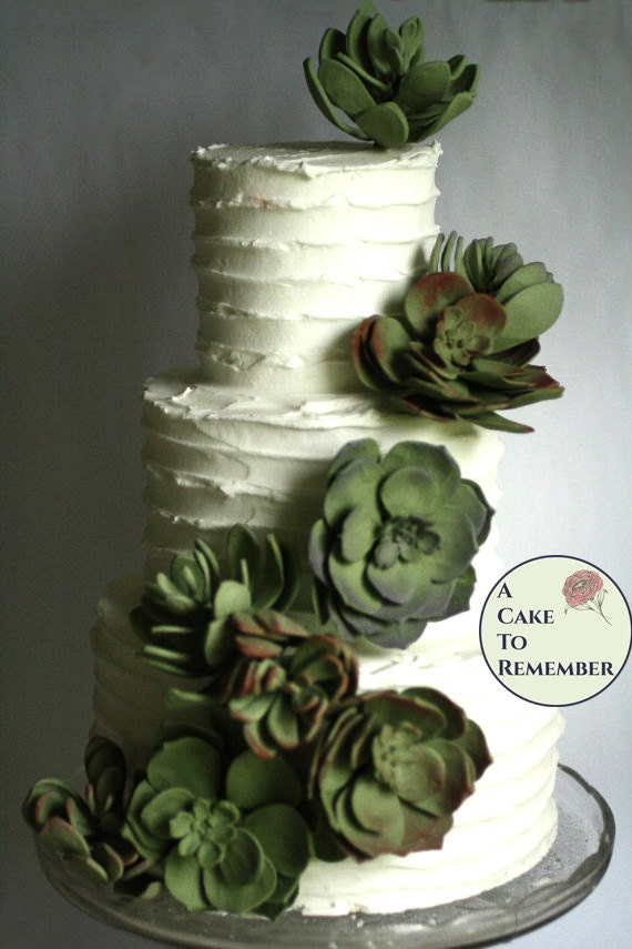 12 Wedding succulents cake topper set edible succulent for cakes