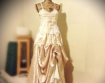 Bohemian lace dress, wedding dress, lace and satin, boho wedding, shabby chic wedding, petite bohemian wedding dress handmade OOAK