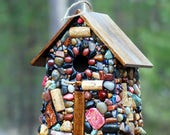 Large Outdoor Birdhouse Pinks and reds Mosaic Stones with wine corks Rustic birdhouse Made in Oregon for Birds Wrens sparrows