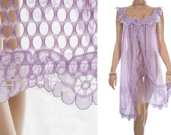 Sensational double layer incredibly sheer flimsy lilac nylon and delicate matching openwork lace detail 1960's vintage nightdress - 3925