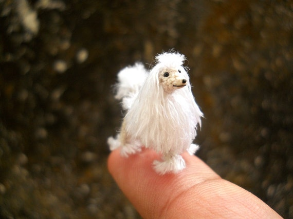 Miniature White Poodle 1 Inch - Tiny Crochet Micro Amigurumi Dog stuff Animal - Made To Order