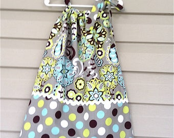Floral and Polka Dot Print Pillow Case Dress - Personalization Option