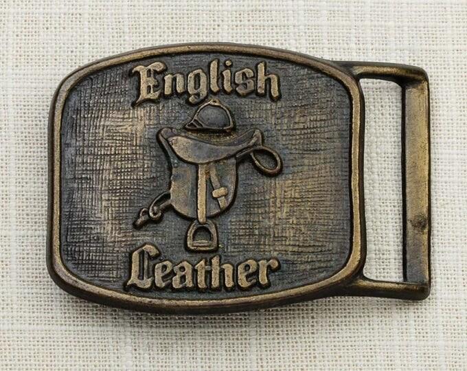 English Leather Belt Buckle Cologne Horse Cowboy Vintage Belt Buckle 7G