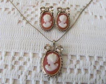 Vintage Cameo Necklace Set Pierced Ears