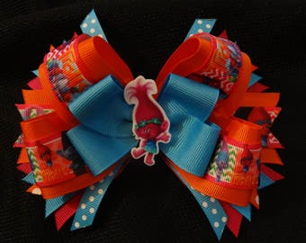 Trolls inspired hairbow, princess poppy large 5 inch boutique bow