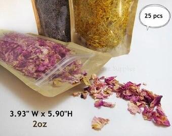 SMALL Kraft paper Stand Up Zipper Pouch Gusset Bags sample size zip up bags 10 cm x 15cm x 6 cm 25 pcs 2oz.