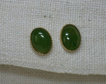 Spinach Jade Earrings, Dainty Gold Plated Post, Oval Cabochons. 1980s Retro Nephrite