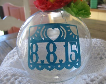 Custom made ornament with papel picado wedding date insert