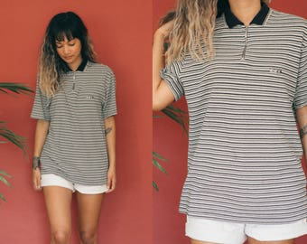 Black White Striped Polo / Ribbed Knit Polo / Ribbed Polo Shirt / Thin Striped Boyfriend Shirt / 90s Shirt / Collared Short Sleeve Unisex