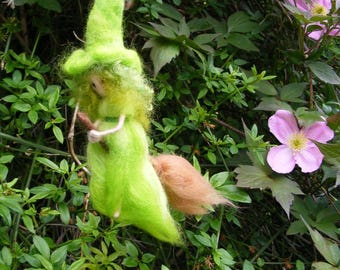 Flying Witch - Spring Garden Witch on her broomstick needlefelted in wool for a Green Witch, Walpurgis Night, Beltane, Ostara, Spring.