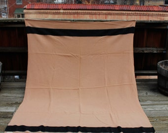 Vtg. Whitney Wool Camel with stripe hudson bay vibe Blanket lodge/cabin decor made in England