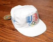vintage 80s Levis Olympics hat white painter hat Levi Strauss 1984 summer Olympics USA Los Angeles NWT deadstock M L
