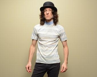 vintage 60s stripe mock t-shirt hi-neck tee shirt heather blue strip shirt 1960 surfer beatnik hippie mod medium M deadstock NOS