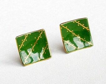 Milvern Originals 1950s Earrings, Vintage Green & Gold Clip On Earrings, OOAK Hand Painted Ceramic Earrings.